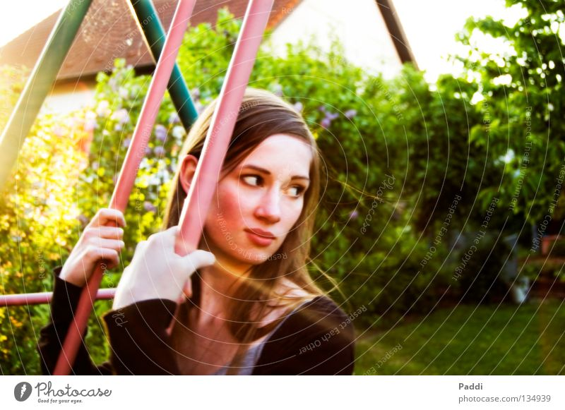on the swing... Summer Swing Beautiful Sweet Long-haired Youth (Young adults) Woman Back-light Doe eyes Hot Physics Relaxation Break To enjoy Dream Dreamily