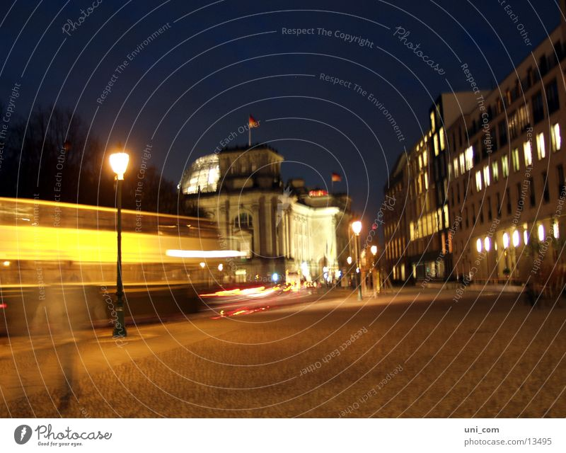 Berlin@night Transport Lantern Light Speed Night Architecture Reichstag Street Bus Movement People move