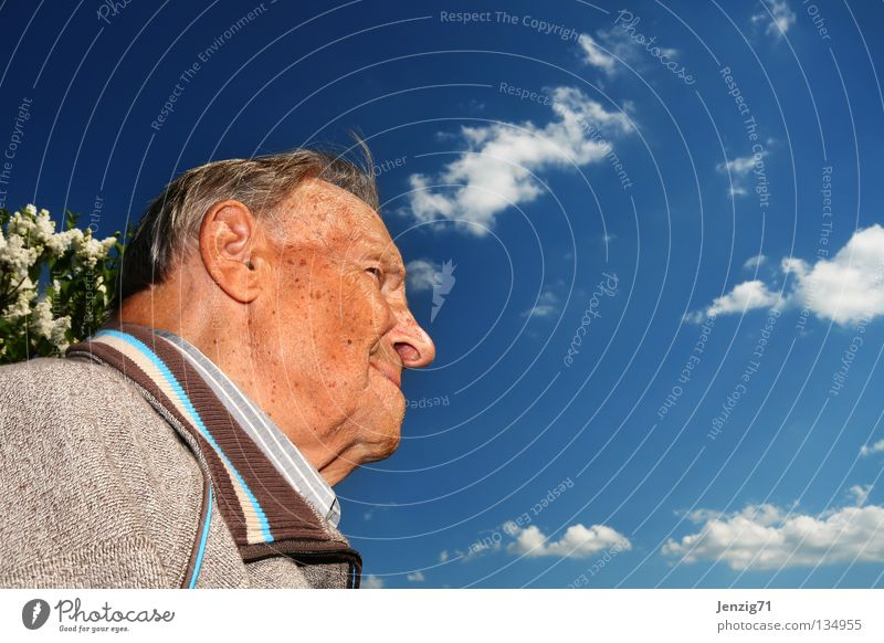 Man Sky Senior citizen Happy Laughter Contentment Hope Future Vantage point Human being Looking Grandparents Nature Grandfather Retirement Skeptical