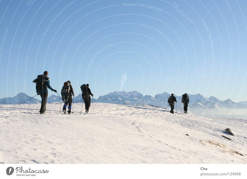 On the road in nowhere Vacation & Travel Snow shoes Switzerland Mountain range Winter Hiking Man Hiking stick Loneliness Hard Far-off places Doomed