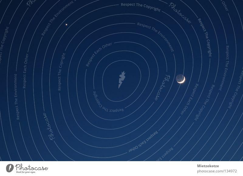Sky Blue Dark Stars Moon Starry sky Celestial bodies and the universe Full  moon Half moon