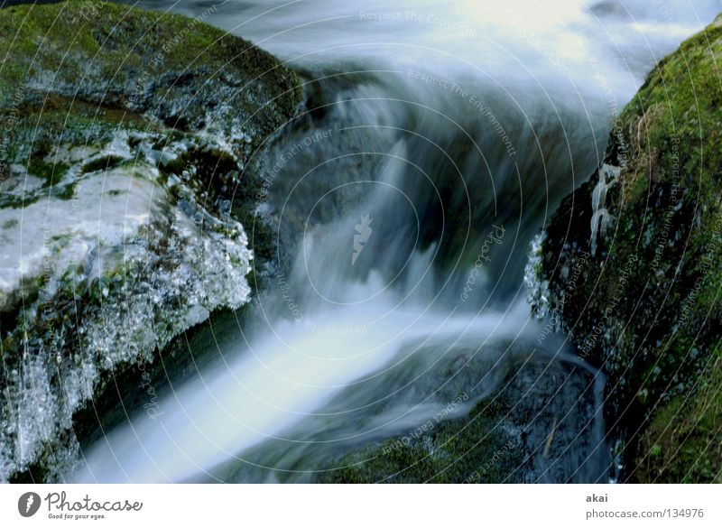 Nature Water Cold Stone Landscape Ice River Soft Natural Frozen Moss Brook Downward Waterfall Warped Black Forest