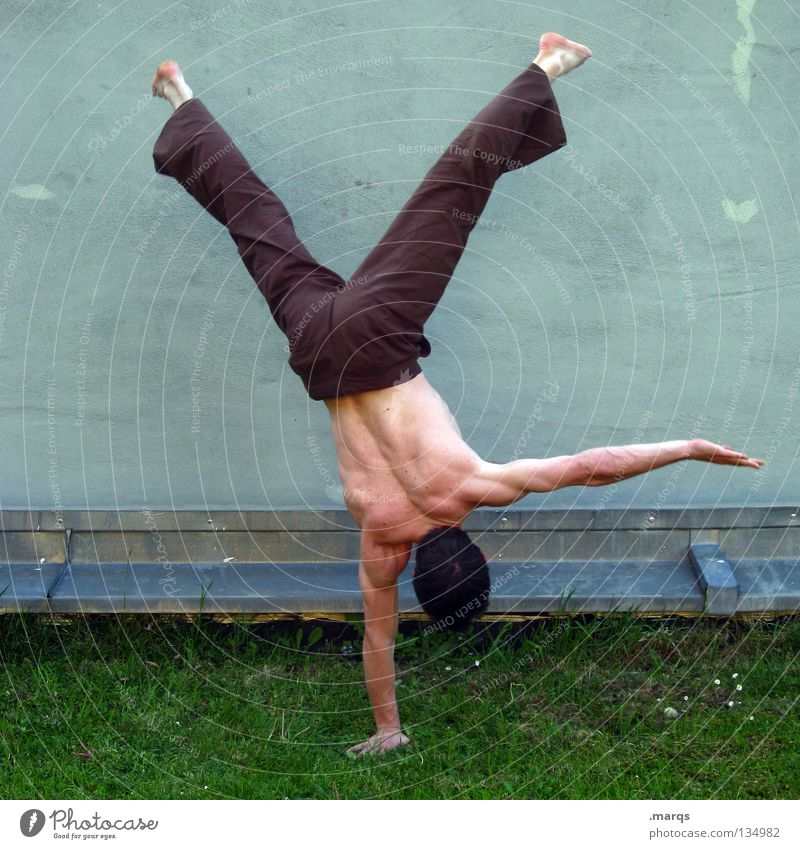 balance Man Fellow Handstand Concentrate Contentment Stand Acrobatics Gymnastics Capoeira Sports Musculature Posture Boast Human being Guy boy Skin Power Back
