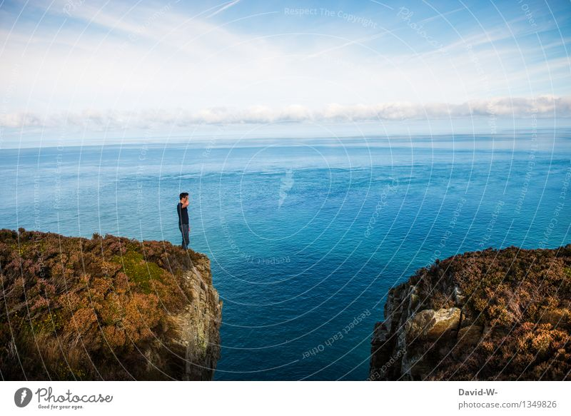 Human being Nature Vacation & Travel Youth (Young adults) Man Beautiful Summer Sun Ocean Young man Landscape Clouds Far-off places Mountain Adults Life
