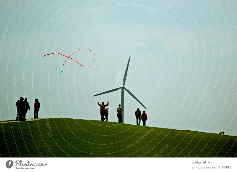 weekend outdoor activity Hill Dike Dragon Green Grass Playing Toys Vacation & Travel Stand Colour Funsport Human being Wind energy plant Nature Joy Sky Movement