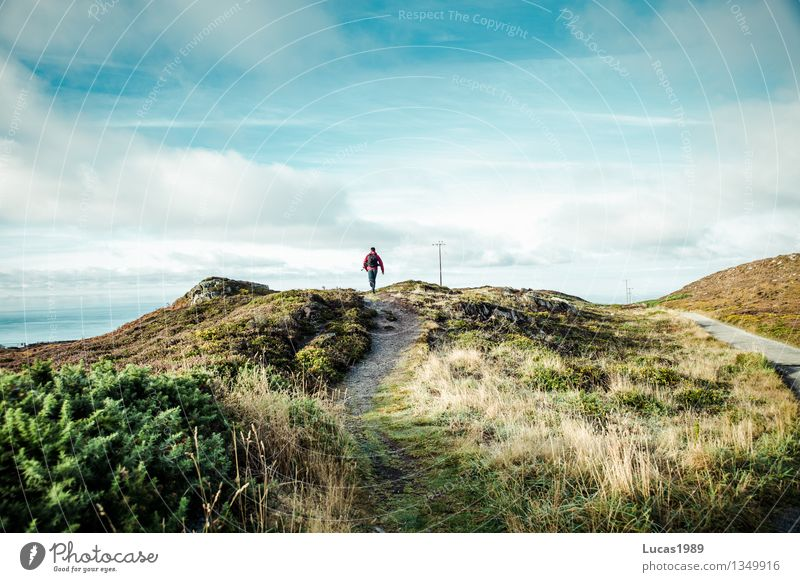wanderer Adventure Far-off places Expedition Hiking Human being Masculine Young man Youth (Young adults) Man Adults 1 Environment Nature Landscape Sky Clouds