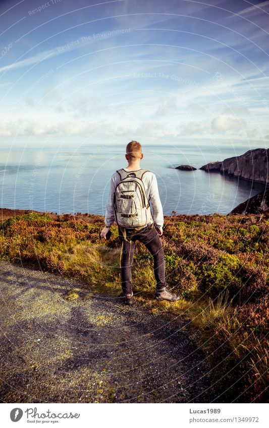 Human being Nature Vacation & Travel Youth (Young adults) Man Summer Ocean Young man Landscape Far-off places 18 - 30 years Adults Environment Meadow Coast Happy