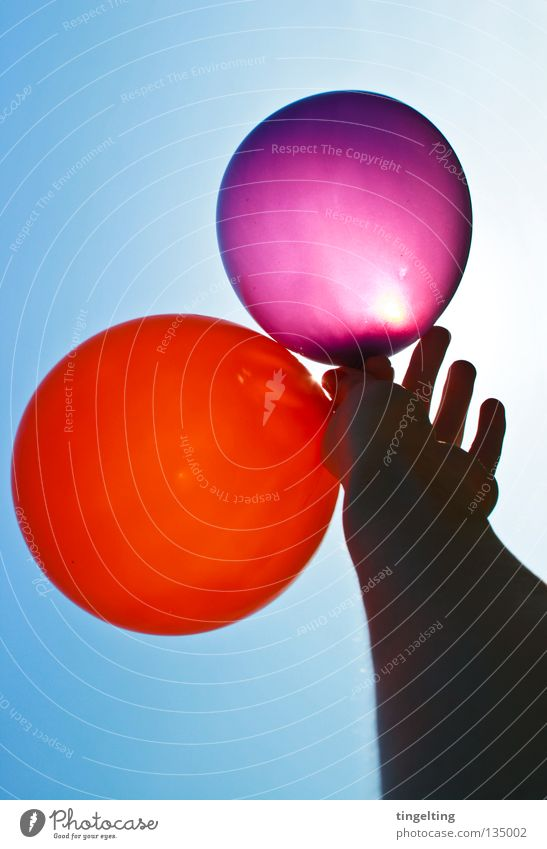 high up II Hand Underarm Joint Violet Red Round 2 3 Sky blue Summer Joy Arm Blue Beautiful weather Sun Balloon