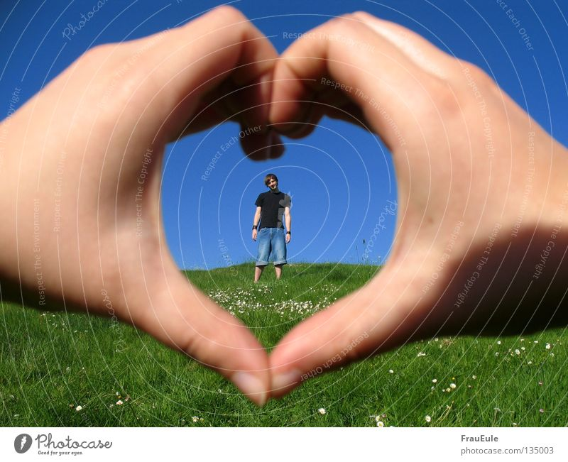 Human being Man Hand Sky Flower Green Blue Summer Love Meadow Heart Fingers Jeans Romance Stand Longing