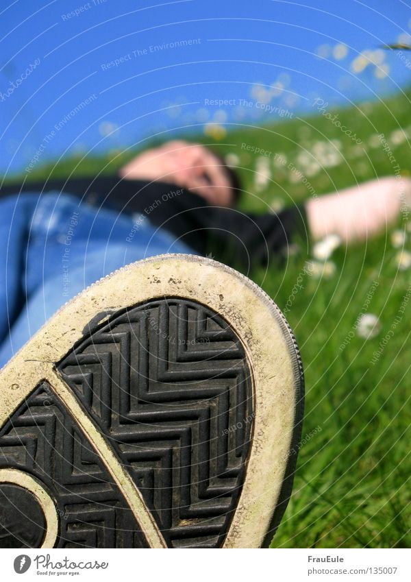 Sky Man Green Blue Joy Summer Flower Relaxation Meadow Mountain Legs Moody Feet Footwear Mouth Contentment
