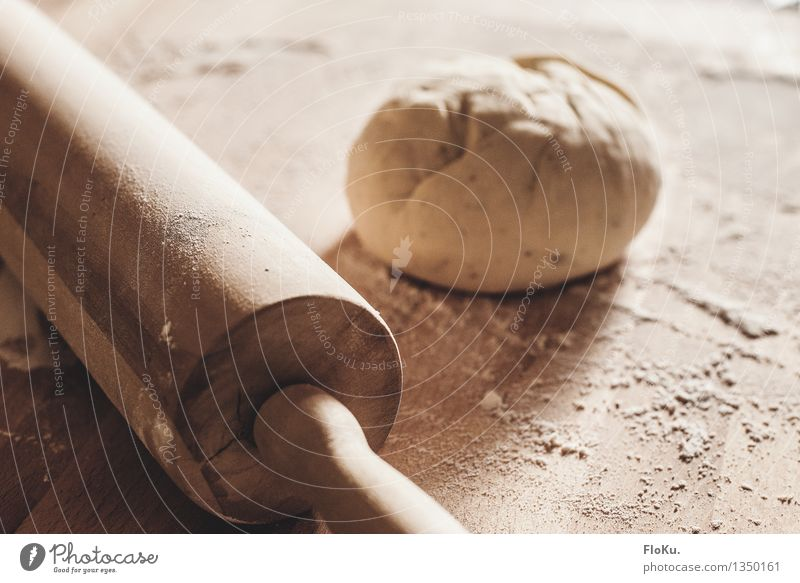 at the pizza baker's Food Dough Baked goods Roll Nutrition Work and employment Profession Baker Kitchen Bakery Fresh Yellow Flour Rolling pin Kitchen Table