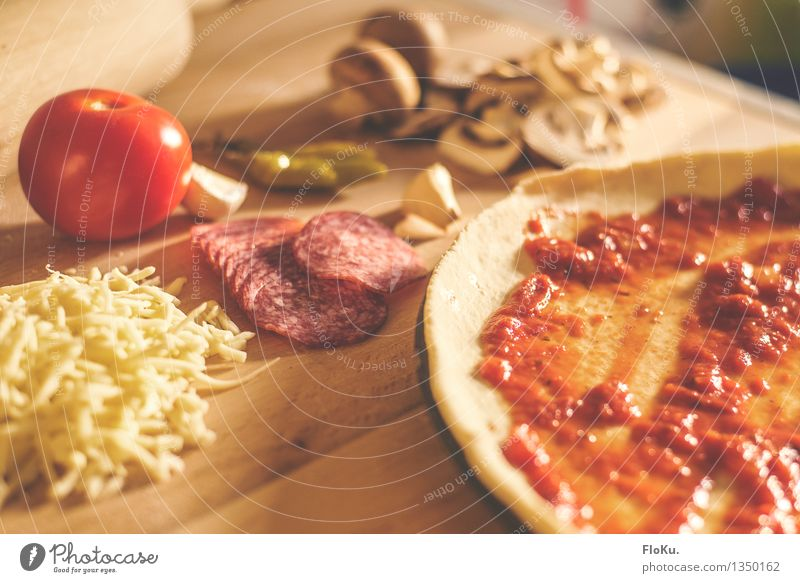 Yellow Wood Food Fresh Nutrition Kitchen Vegetable Delicious Wooden board Baked goods Dinner Tomato Dough Lunch Cheese Sausage