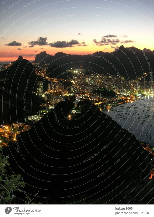 Rio Rio de Janeiro South America Sunset Sea of light Calm Exterior shot Long exposure Sugar Loaf Mountain Dusk Coast Port City Famousness World famous