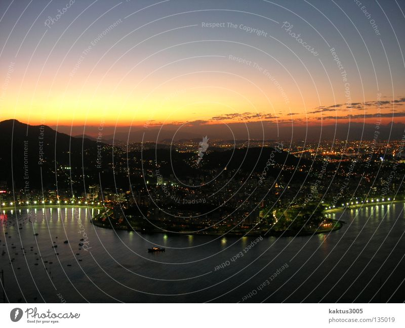 Water Ocean Coast Travel photography Harbour Skyline Dusk South America Rio de Janeiro Port City Color gradient Brazil City trip Ambience City light Sugar Loaf Mountain