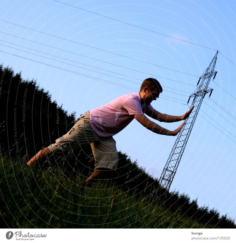 marcus contendit Hand Upper body Hang To hold on Grasp Electricity pylon Cable Electrical equipment Clouds Touch Warning label Man Pushing Tumble down