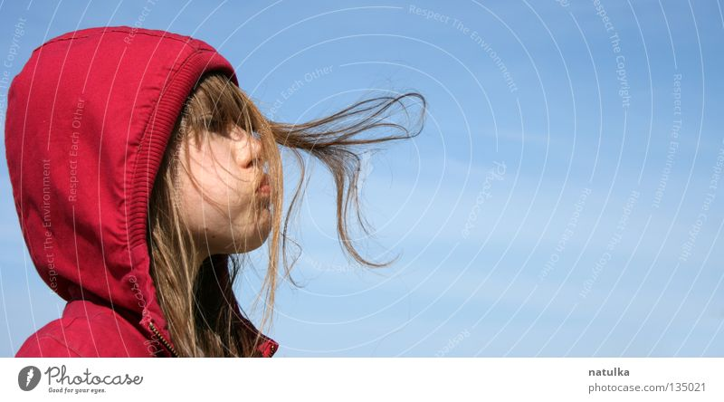 Child Girl Sky Blue Red Hair and hairstyles Wind Human being Blow Hair Environment Hooded (clothing)