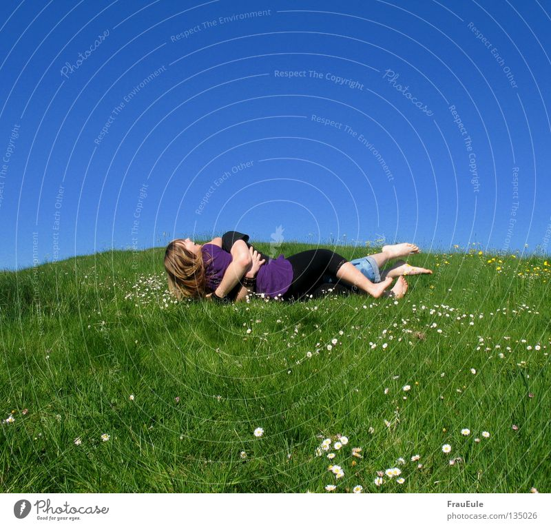 Man Sky Flower Green Blue Summer Joy Relaxation Meadow Mountain Laughter Feet Legs Contentment Moody Dress