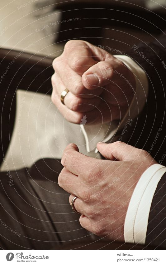 Hands of the groom at the wedding ceremony Wedding Wedding band Bride groom Examinations and Tests Stock market Success Fist Elegant Emotions Anticipation