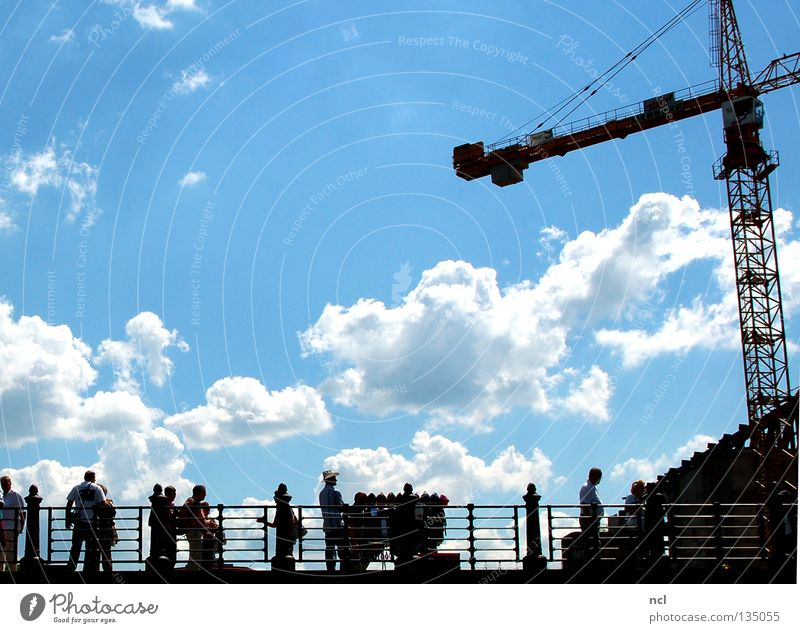 Human being Sky White Blue Summer Joy Clouds Group Silhouette Bridge Observe Beautiful weather Handrail Crane Lean