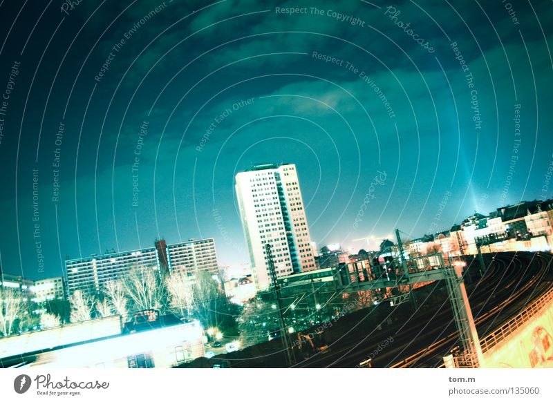 Sky Blue City House (Residential Structure) Clouds Cold Berlin Building Lighting Large High-rise Railroad Soft Night Night sky Railroad tracks