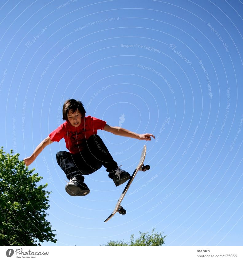 Child Man Youth (Young adults) Blue Red Joy Black Street Sports Boy (child) Jump Movement Healthy Flying Tall Action