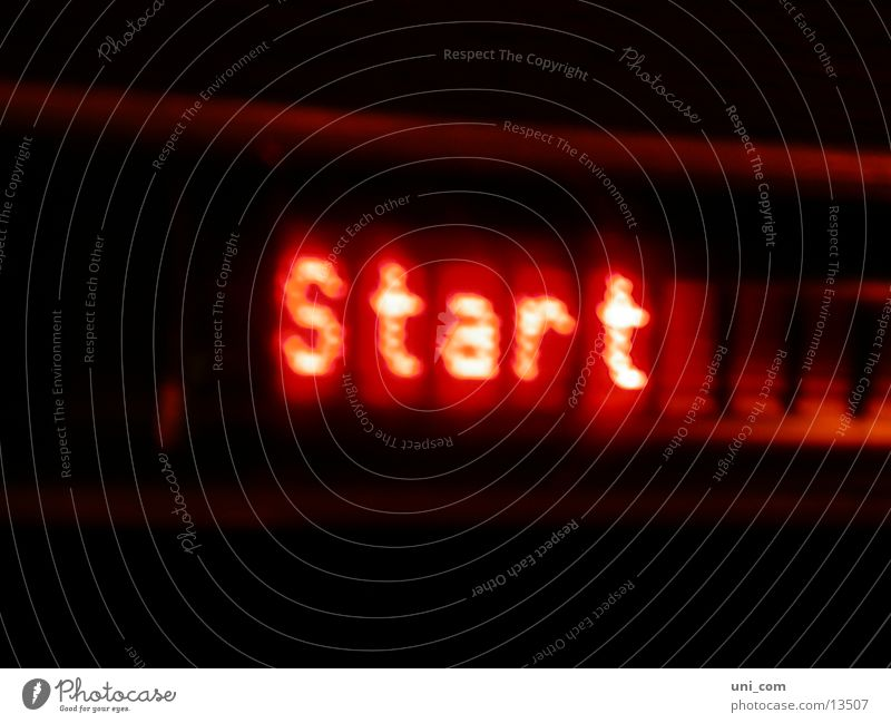 at the start Neon sign Word Red Electrical equipment Technology Beginning displey Lamp