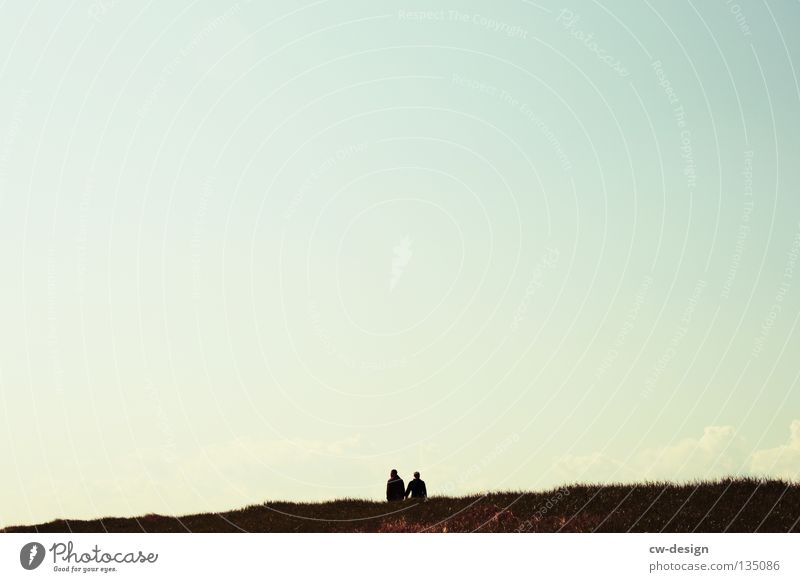 Sky Meadow Freedom Couple To go for a walk Pedestrian Color gradient Cloudless sky Gray scale value Clear sky Bright background
