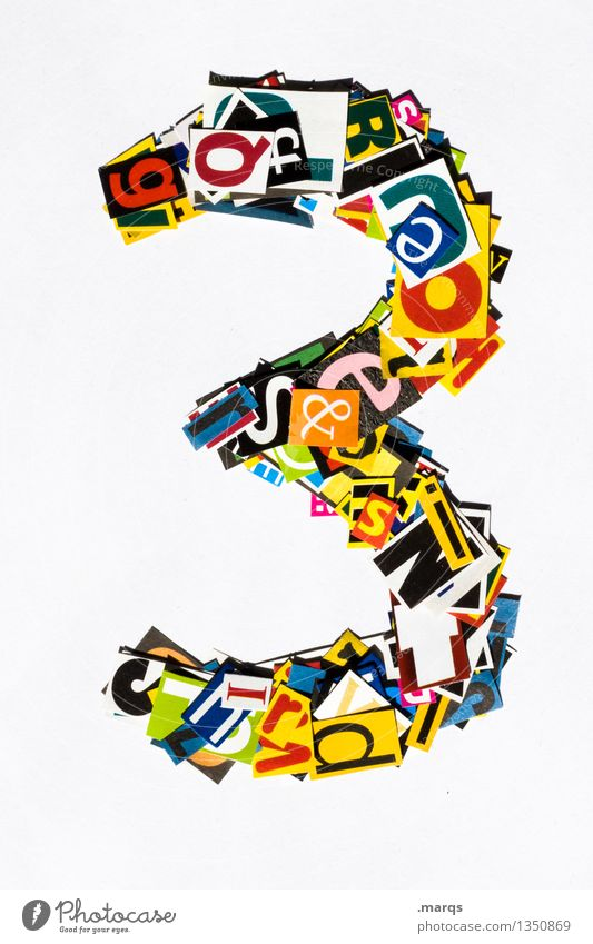 3 Style Design Digits and numbers Multicoloured Snippets Birthday Colour photo Studio shot Isolated Image Neutral Background