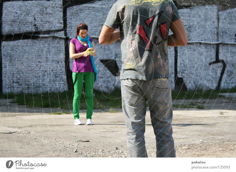 MAKING OF Multicoloured Green Pants Summer Style Friendship Backyard Crazy Paparazzo Spontaneous Break Filming Leisure and hobbies Wall (building)