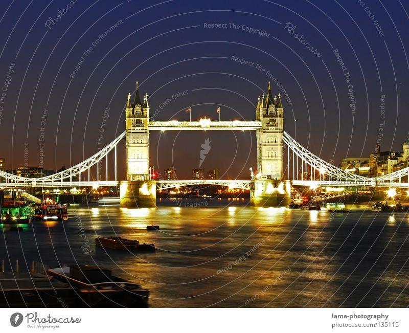 London Nights Tower Bridge England Great Britain Art Sightseeing Suspension bridge Steel Construction Reflection Dark Twilight Sunset Glittering Light Flow