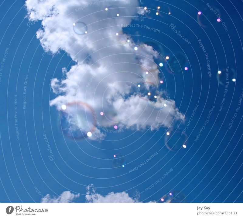 Sky Blue Calm Clouds Playing Movement Freedom Soap bubble UFO Sublime