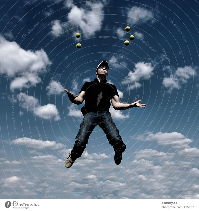 low gravity Man Fellow Summer Clouds Tennis ball Hover Frozen Slope T-shirt Easy Weightlessness Juggle Dark Joy Sky Blue Ball Flying Legs Feet Arm Jeans cappy