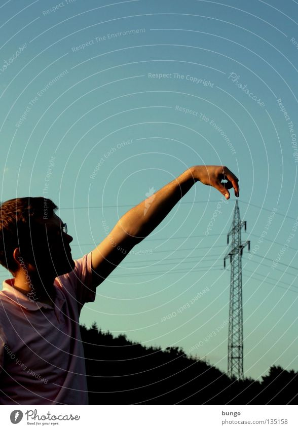 Sky Man Hand Clouds Power Arm Energy industry Perspective Electricity Cable Communicate Point To hold on Touch Catch Hang