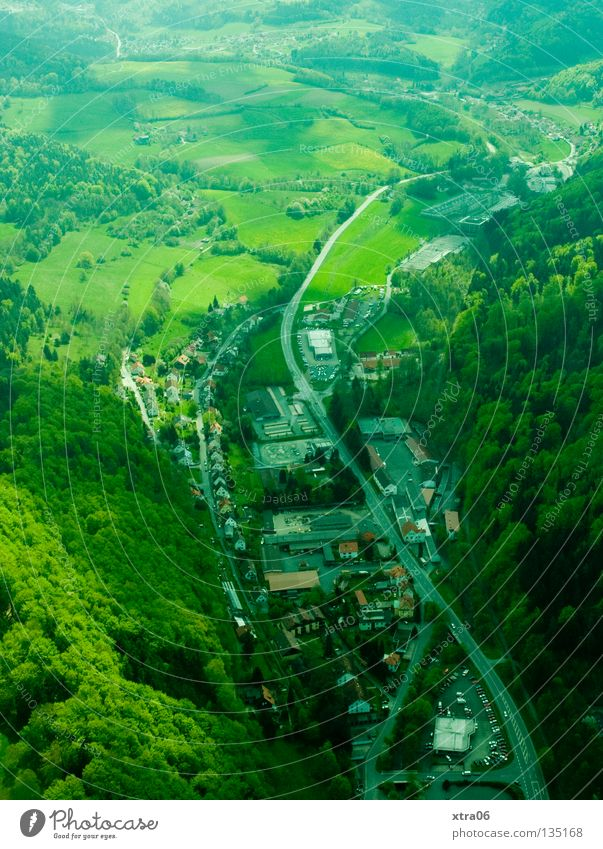 House (Residential Structure) Street Forest Mountain Germany Aerial photograph Valley Habitat