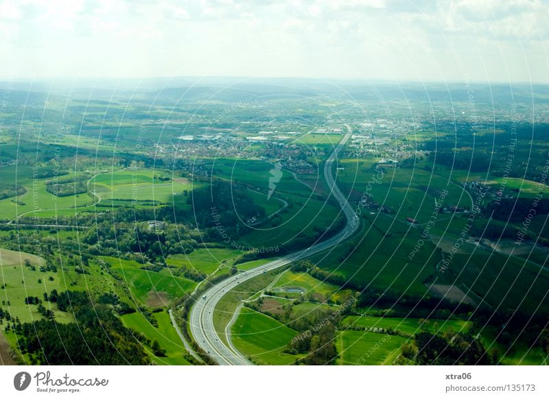 Sky Street Forest Meadow Germany Aerial photograph Flying Vantage point Highway