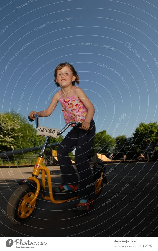 Person 42 Hope Child Playground Girl Driving Mobility Environmental protection Tree Summer Joy Playing Sky Happy Scooter