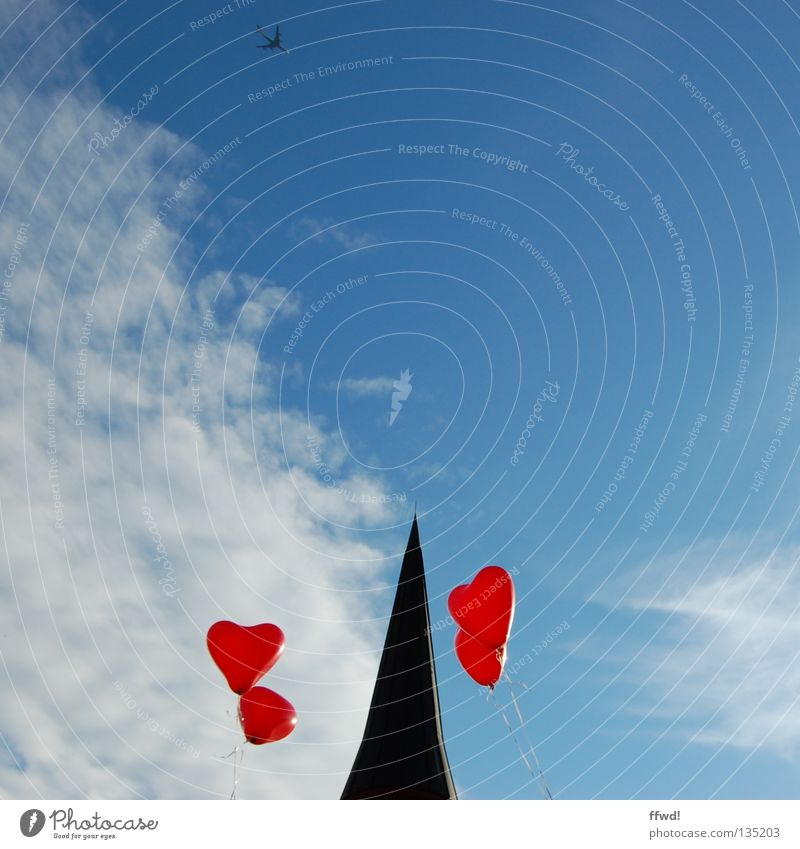 spiral tower kids Church spire Balloon Red String Clouds Hover Go up Release House of worship Joy Sky Religion and faith Point Heart Flying Love