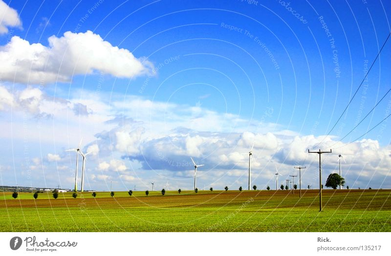 Clean Power 4. Green Wind energy plant White Technology Nature Clouds Sky Electricity Energy industry Blue Cable Electricity pylon Colour Perspective