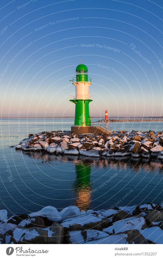 pier lights Ocean Winter Nature Landscape Water Clouds Coast Baltic Sea Tower Lighthouse Architecture Tourist Attraction Landmark Stone Cold Blue Green Red