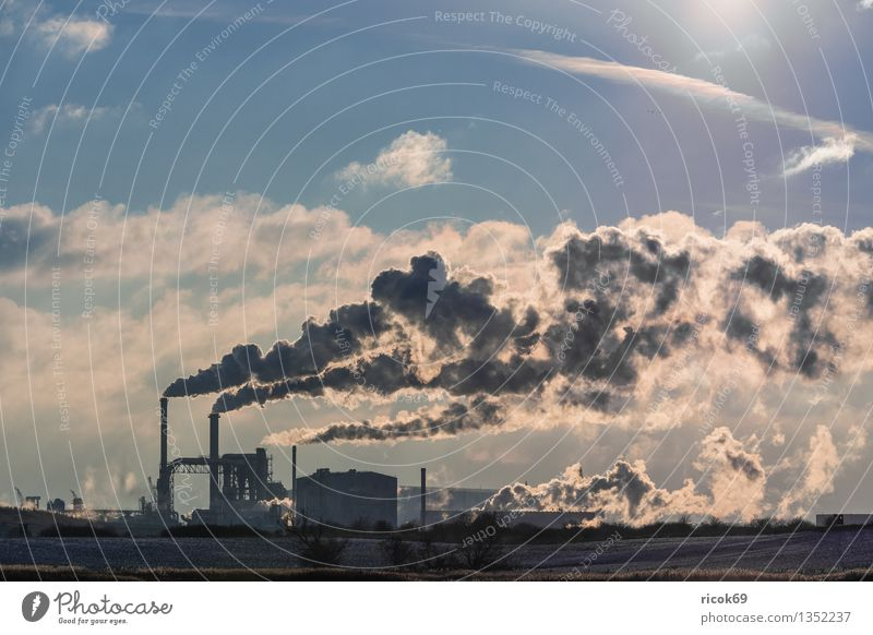 industrial zone Sun Energy industry Coal power station Industry Environment Nature Clouds Chimney Smoke Climate Environmental pollution Environmental protection