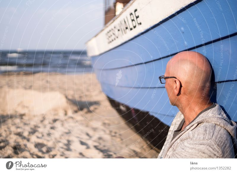 Human being Vacation & Travel Man Ocean Beach Sand Watercraft Baltic Sea Maritime Fishing boat Usedom Sideways glance