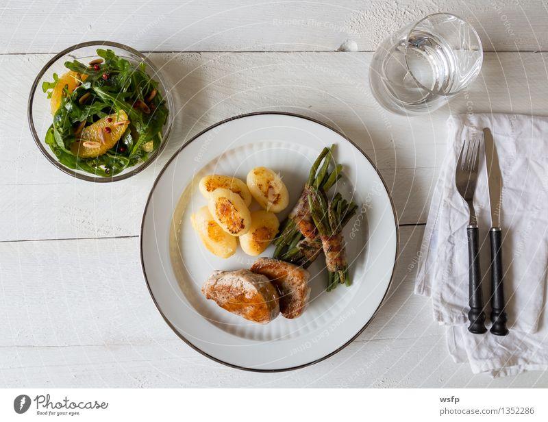 Kitchen Vegetable Hot Plate Meat Wooden table Cutlery Fork Potatoes Beans Sauce Gourmet Tumbler Crisp Roasted Pork tenderloin