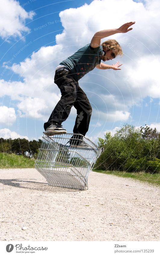 shopping surfers Clouds Stand Contentment Shopping Trolley Cage Meadow Green Summer Juicy Physics Summery Man Masculine Action Dangerous Blonde Easygoing