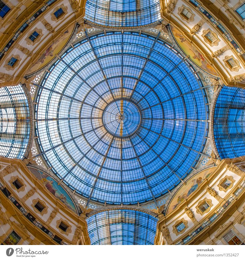 Dome in Galleria Vittorio Emanuele, Milan, Italy Luxury Style Vacation & Travel Decoration Art Culture Sky Places Building Architecture Monument Esthetic