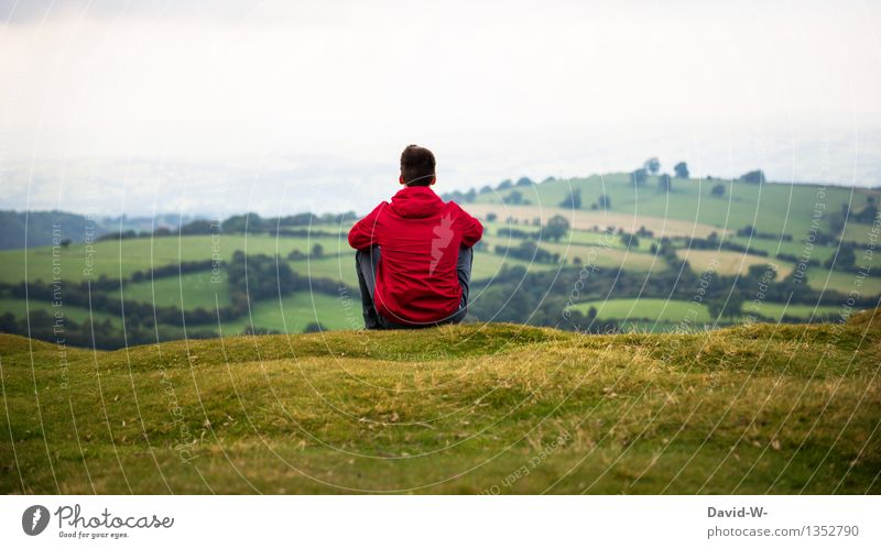 Human being Nature Youth (Young adults) Man Green Young man Landscape Red Relaxation Calm Far-off places Adults Environment Life Meadow Autumn