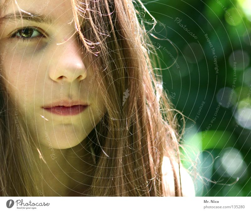 transparency Girl Concealed One-eyed Long-haired Brown Facial expression Neutral Watchfulness Timidity Earnest Impassive Vista Looking Portrait photograph Green