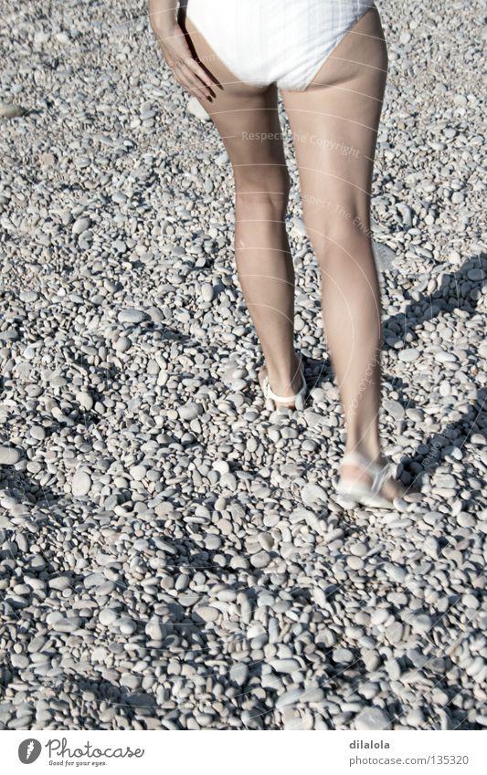 walking Beach Summer Nature Relaxation Bikini Spain Hiking Coast Healthy stones legs rocks beach girl Stone Rock