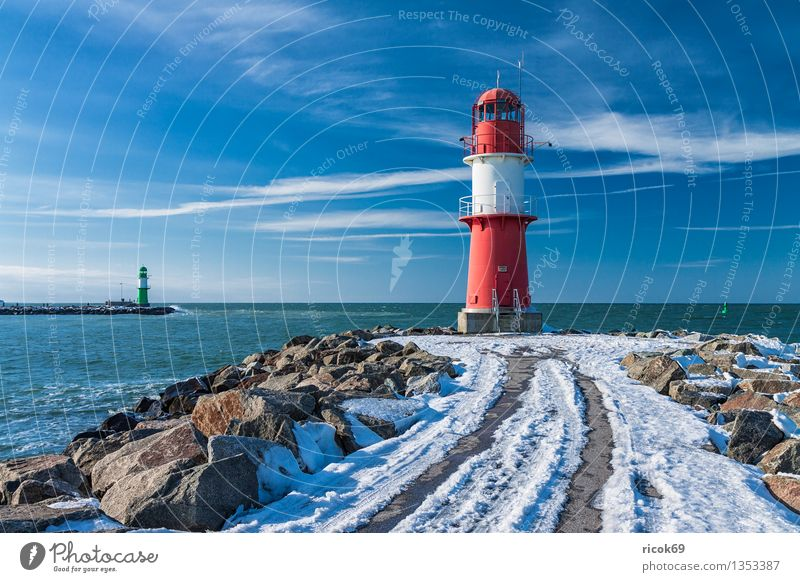 Warnemünde Ocean Winter Nature Landscape Water Clouds Coast Baltic Sea Tower Lighthouse Architecture Tourist Attraction Landmark Stone Cold Blue Green Red White
