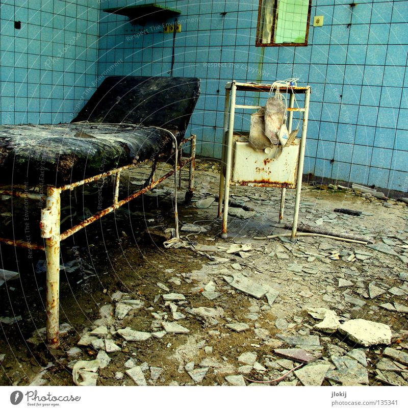 """Next, please."" Room Couch Framework Light blue Plaster Mirror Square Drawer Concrete Derelict Damp Building Clinical Hospital Sanatorium Healthy Transience"
