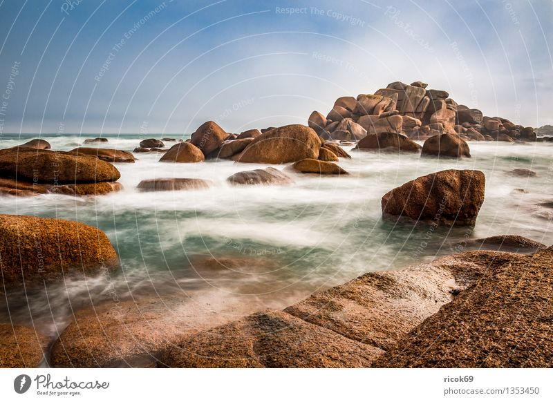 Nature Vacation & Travel Relaxation Ocean Landscape Clouds Coast Stone Rock Tourism Tourist Attraction France Atlantic Ocean Granite Brittany